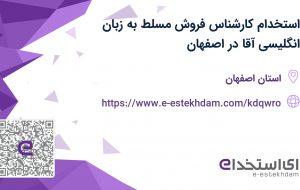 استخدام کارشناس فروش مسلط به زبان انگلیسی آقا در اصفهان