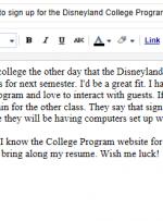 نحوه نوشتن بلاگ برنامه کالج دیزنی