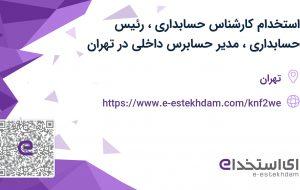 استخدام کارشناس حسابداری، رئیس حسابداری، مدیر حسابرس داخلی در تهران