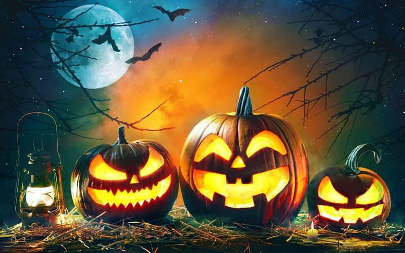 سه کدوی هالووین با طرح شیطان