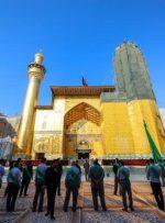 تصاویری از پیشرفت مرمت گلدسته حرم امام علی (ع)